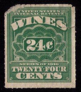 US SCOTT #RE42  GREEN 24c Wine Fault Upper Left Corner mh F-VF