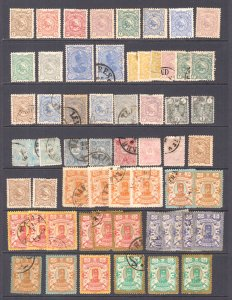 IRAN PACKED STOCK PAGE VALUES UP TO $50 SCV EACH 59 STAMPS 1880's-1890's