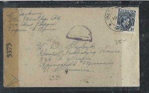 NIGERIA  (P2808BB) 1944 KGV 3D CENSOR  FROM UTU ETIM EKPO TO USA