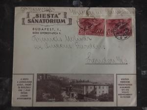 1940 Budapest Hungary Siesta Sanatorium Commercial Cover To London