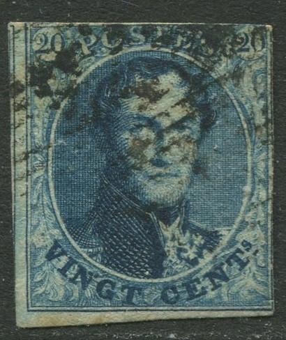 Belgium - Scott 7 - King Leopold I -1851 - Used - 20c Stamp