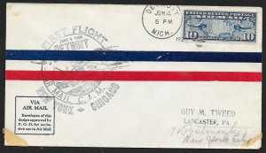 UNITED STATES C7 on First Flight Cover c1928 Detroit