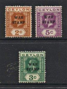 STAMP STATION PERTH Ceylon #MR1-MR3 War Stamps MNH CV$16.00
