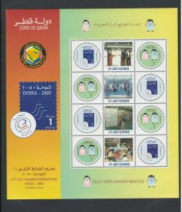 QATAR: #02-Sc.1004 /**11th GCC STAMP EXHIBITION**/ Special Sheet of 4 Sets/ MNH.