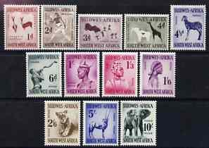 South West Africa 1954 Animals definitive set 1d to 10s c...
