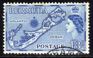 Bermuda 1953 - 62 QE2 1/-3d Blue Map of Bermuda Used SG 145b( J341 )