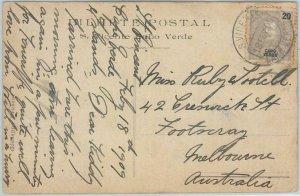 67160 - CABO VERDE  - Postal History - POSTCARD  to AUSTRALIA Victoria 1909