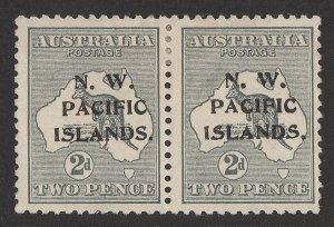 NEW GUINEA - NWPI 1915 Kangaroo 2d 1st wmk, pair, substituted type b-c. SCARCE!