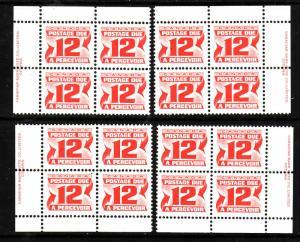 Canada id#4087 - Sc#J36a-set of 4 plate blocks-12c carmine rose-NH-postage due-1