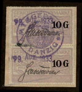 Danzig Poland Germany 2x20G Gerichtskostenmarke Court Fee Revenue Stamp 90929