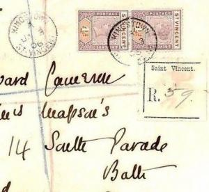 W56a ST. VINCENT West Indies Forwarded Registered Cover 1906  {samwells-covers}
