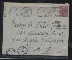 PAKISTAN (P2304B) KGV INDIA 2A  1931  COVER SHORT PAID KARACHI TO USA