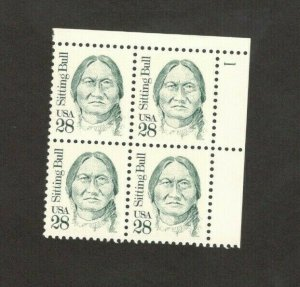 2183 Sitting Bull Plate Block Mint/nh FREE SHIPPING