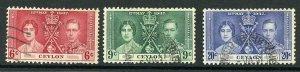 Ceylon SG383/5 1937 Coronation set used cat 8.50