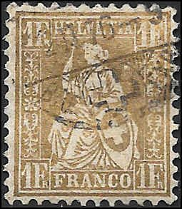 1862 SWITZERLAND  SC# 50 USED VF SOUND CV $160.00