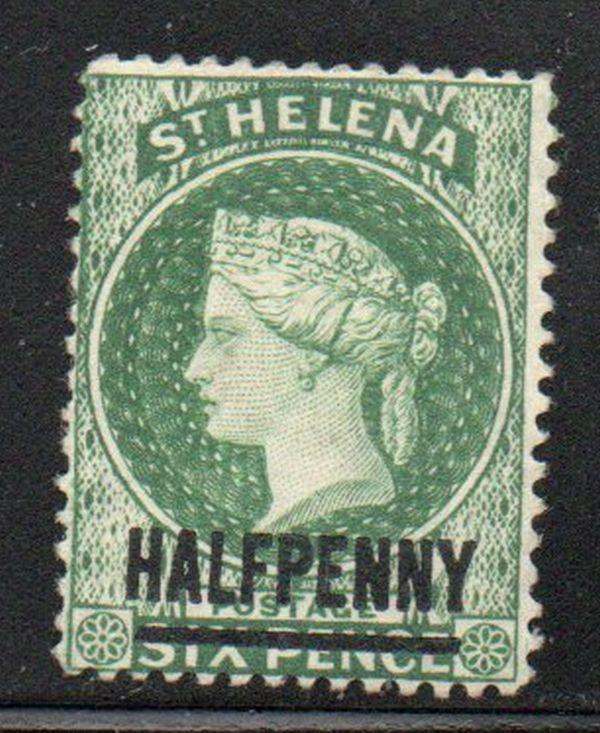 St Helena Sc 34 1884 1/2d on 6d green Victoria stamp mint