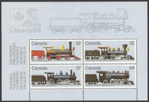 Canada #1039a mint ss, Steam locomotives, issued 1984