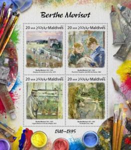 MALDIVES - 2017 - Artists : Berthe Morisot - Perf 4v Sheet - MNH