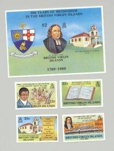 Virgin Islands #646-650 Methodist Church, Coat of Arms 4v & 1v S/S Imperf Proofs