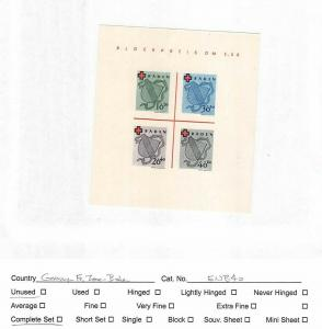 Germany French Occu. Zone - Baden MNH Stamp Sheet Scott # 5NB4a #141300 X R