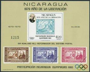 Nicaragua Mi 2106 Bl.112,MNH. Rowland Hill,Olympics Lake Placid,Moscow-1980.
