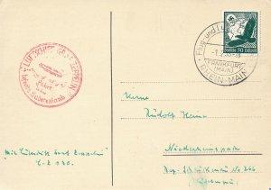 Card Zeppelin 1938 WWII Airship Germany Nazi Era Airmail Sudentenland Fahrt