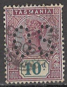 COLLECTION LOT OF #1753 AUSTRALIA STATE TASMANIA  #80 OS PERFIN