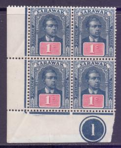 Sarawak Scott 50 - SG50, 1918 Sir Charles Brooke 1c Control Block of 4 MNH**