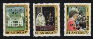 Barbuda 21st Birthday of Princess of Wales 2nd issue 3v SG#628-630