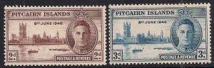 Pitcairn Islands 1946 KGV1 Set of Victory MM SG 9 - 10 ( F672 )