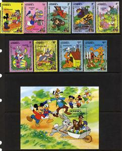 Dominica 832-41 MNH Disney, Easter Eggs, Rabbit