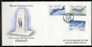 KIRIBATI 1995 50th ANNIVERSARY THE END OF WORLD WAR II SET OF 2 FIRST DAY COVERS