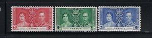 CEYLON SCOTT #275-77  1937 GEORGE VI CORONATION- MINT LIGHT  HINGED