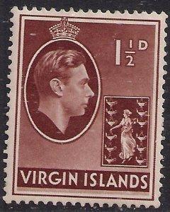 British Virgin Islands 1938 - 47 KGV1 1 1/2d Brown MM SG 112a ( E875 )