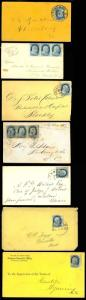 1857, Group of Seven 1¢ Covers - PRETTY GROUPING - BLH