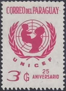 Paraguay # 1416 used ~ 3g UNICEF Emblem