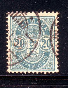 Denmark Sc 48 1895 20 ore blue Arms stamp used