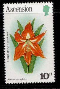 ASCENSION QEII SG288A, 1981 10p lily, NH MINT.