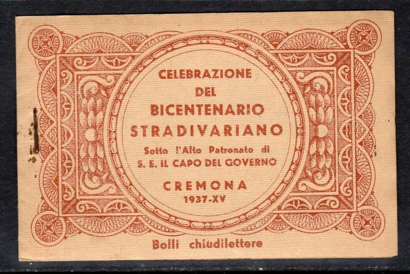 Italy Cremona Stradivaiano Music Cinderella Poster Stamp Full Booklet a778