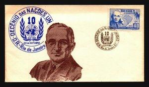 Brazil 1955 10th Ann of UN Cover / Nice Cachet  - L3623