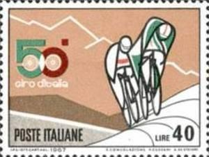 ITALIA REPUBBLICA ITALY REPUBLIC 1967 SPORT 50° GIRO D' ITALIA CICLISTICO CI...
