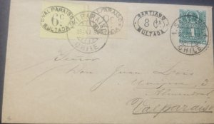 O) 1894 CHILE, MULTADA POSTAGE DUE. TAX DOUBLE THE DEFICIENCY, WITH OVAL SANTIAG