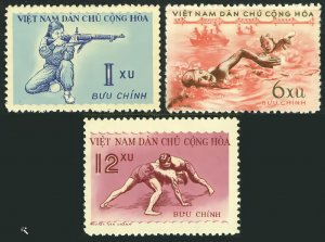 Viet Nam 1959 Sc#102/104 SPORTS SHOOTING SWIMMING WRESTLING Set (3) MNH