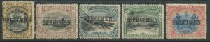 North Borneo 1895 SG 101s, 102s, 106s, 108s, & 109s SPECIMEN overprints