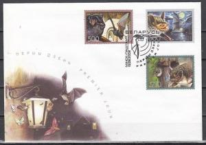 Belarus, Scott cat. 593-595. Various Bats issue on a First day Cover. *