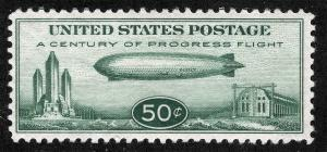 US Sc C18 Green Chicago Zeppelin 50¢ MNH Original Gum Airmail *Lot RL