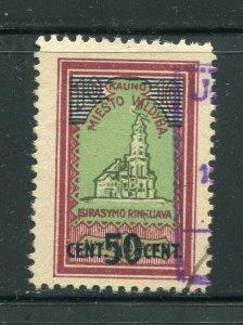 x83 - LITHUANIA Kaunas 1920s Municipal REVENUE Stamp. SURCHARGED. Scarce! Fiscal