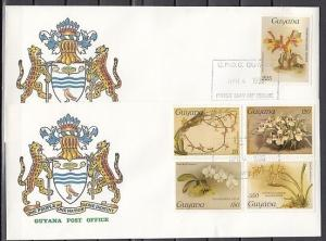 Guyana, Mi cat. 1548-1552. 7th Orchid issue on 2 First day covers.
