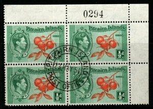 PITCAIRN ISLANDS SG1 1940 ½d ORANGE & GREEN BLOCK OF 4 FINE USED