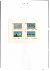 SCOTLAND - STAFFA - 1982 - Airplanes #2 - Imperf 4v Sheet - MLH